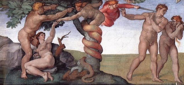 Adam and Eve, depicted in the Sistine Chapel.