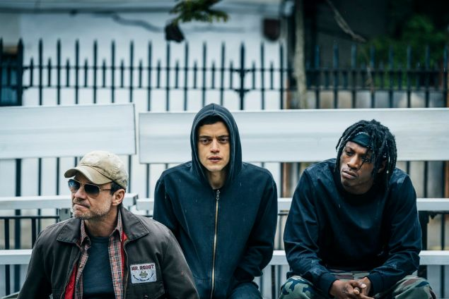 (l-r) Christian Slater as Mr. Robot, Rami Malek as Elliot Alderson and Joey Bada$$ as Leon.