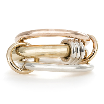 Spinelli KilcollinOrion Gold X Ring in Sterling Silver, 18K Yellow and Rose Gold,$2,400, spinellikilcollin.com