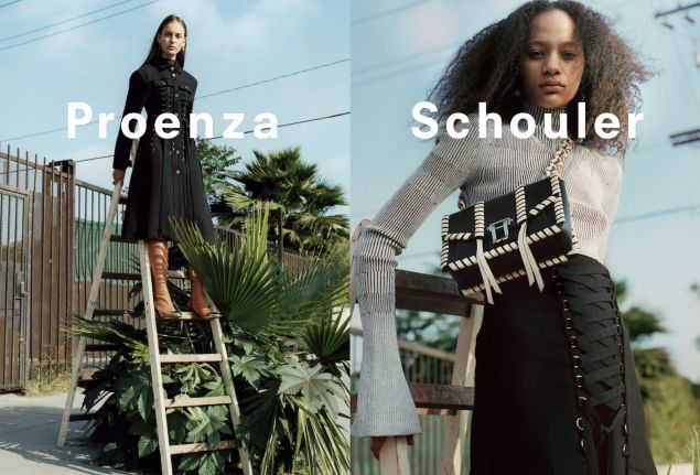 Laces up the front of a black jacket and along the new Proenza Schouler bag