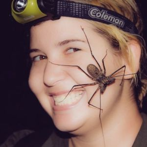 Dr. Christie Wilcox with an eight-legged friend.