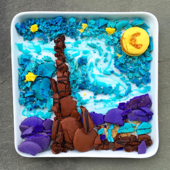 Starry Night, one of his most popular posts, made with cereal, Tic Tacs and Oreos.