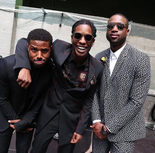 Basketballer Dwyane Wade poses with rapper A$AP Rocky and actor Michael Jordan at Men's Fashion Week Paris, two weeks ago.