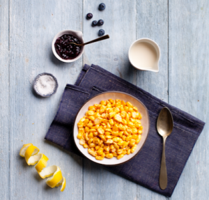 The Corny Blues bowl offers a combination of corn pops, salt, lemon zest and blueberry jam.
