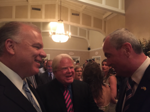 Sweeney and Murphy greeting each other at a Monmouth County Democratic fundraiser earlier this week