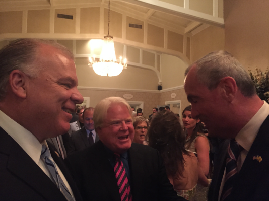 Sweeney and Murphy greeting each other at a Monmouth County Democratic fundraiser Wednesday night