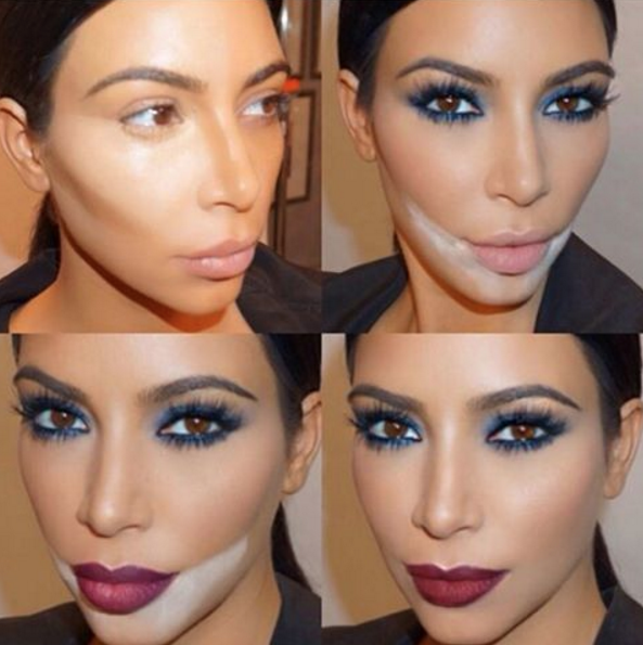 "Kim Kardashian showing off the ""sandbagging"" technique."