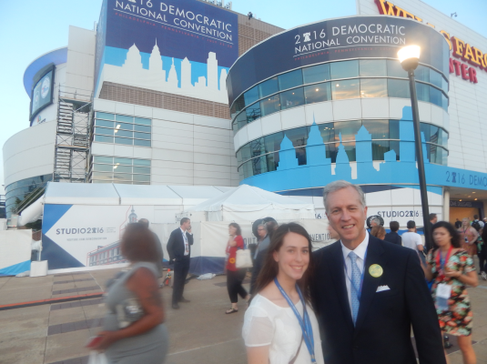 Wisniewski with his daughter Rachel at the entrance to the DNC