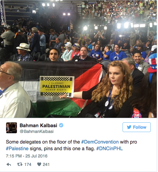 Why is the Palestinian flag appearing at the DNC?