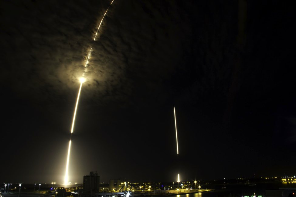The launch and landing of the Falcon 9 rocket.