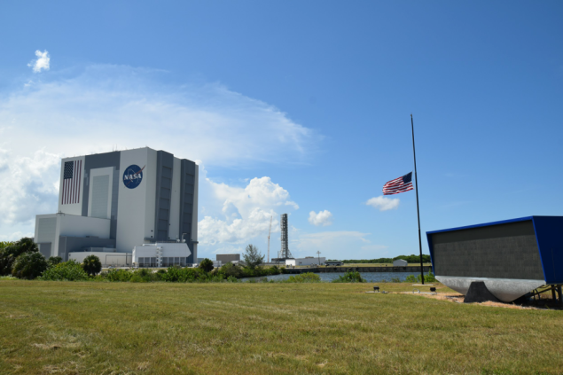 The NASA Press Site and Vehicle Assembly Building at Kennedy Space Center.
