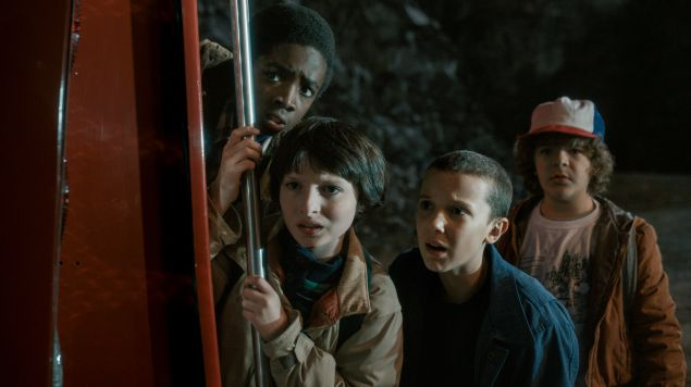 Caleb McLaughlin, Finn Wolfhard, Millie Bobby Brown and Gaten Matarazzo in Stranger Things.