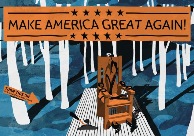 "A 1920's electric chair stands on a wooden base in the forest underneath the banner ""Make America Great Again"" (see illustration). A phrase exploited by Donald Trump. This idea was created for a joint project we were developing with Banksy, yet plans for that show were postponed, so this concept is original and would make a great piece in the forest."