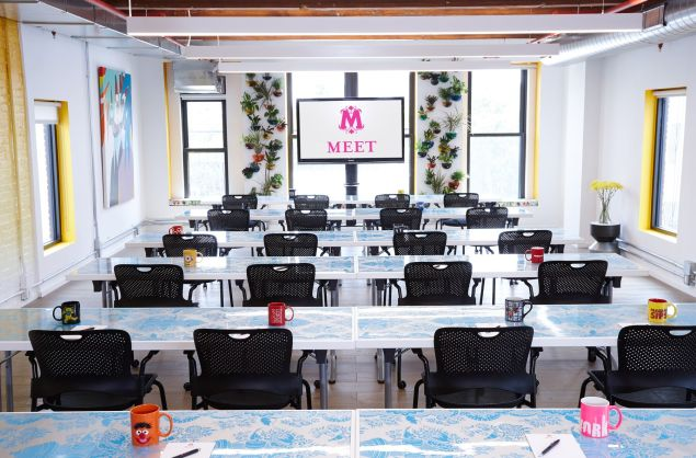 Meetings would definitely be less dreary in this colorful wonderland.