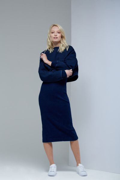 An indigo knit dress