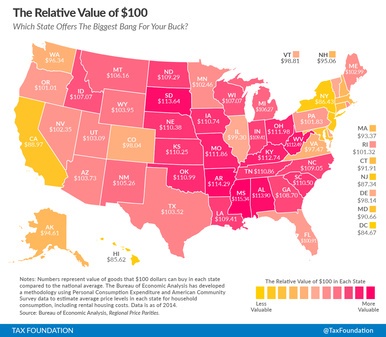 The real value of $100 in each state.