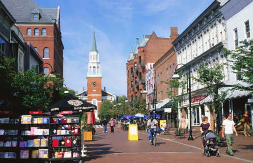Downtown Burlington, where you'll find bars, restaurants, shops and Ben & Jerry's.