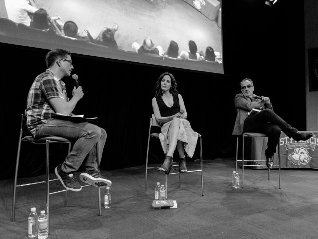 Mary-Louise Parker and Elvis Costello answer questions from moderator Jason Gots.