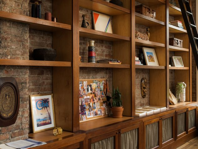 A close up look at the studio's shelving