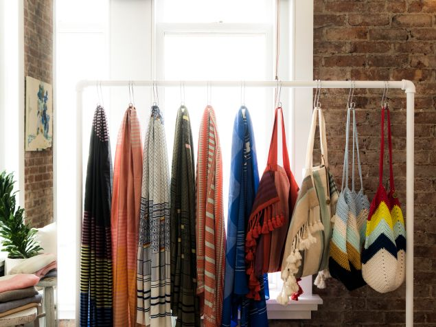 Scarves on display at the studio