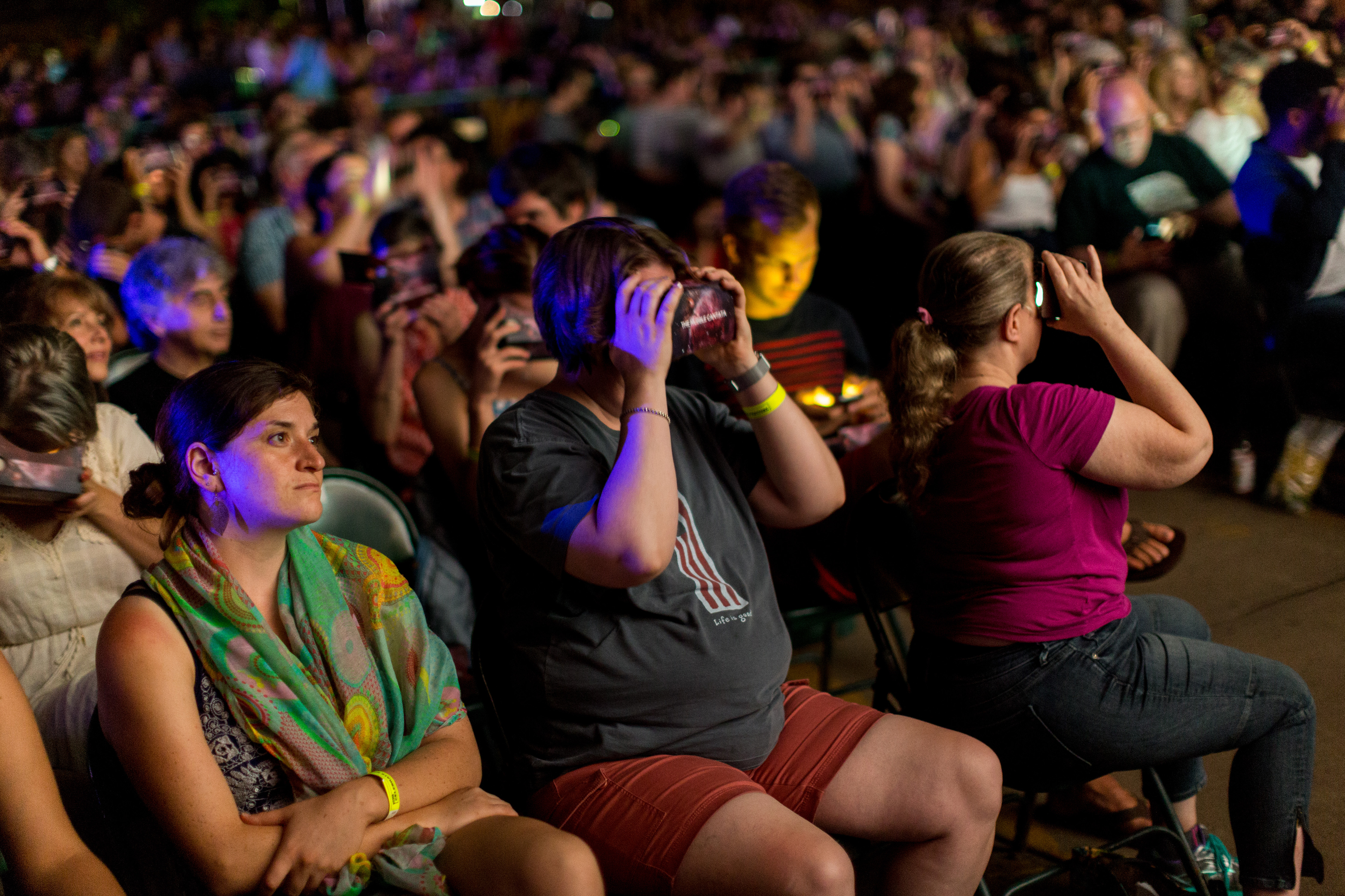 """Patrons use their VR headsets on a jounrye to The Orion Nebula in """"The Hubble Cantata"""" premiered in Brooklyn on Aug 6th, 2016"""