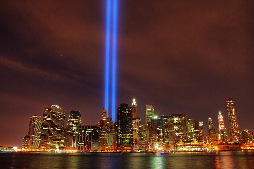 The Tribute in Light is illuminated on the skyline of lower Manhattan.