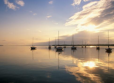 Sailboats on Lake Champlain.