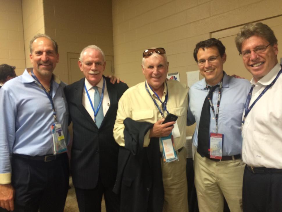 AT THE DNC (from left to right): Zenon Christodoulou, Tom Barrett, John Graham, Steve Kornacki, and Phil Sellinger.