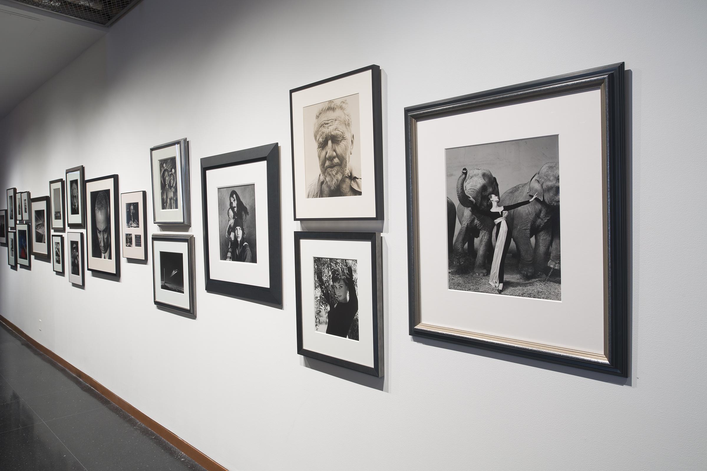 installation of photos, Kahn lobby