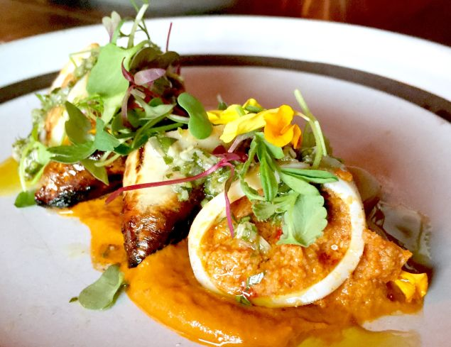 Chorizo-stuffed squid at Poco Wine Bar, where all the food is under $10.