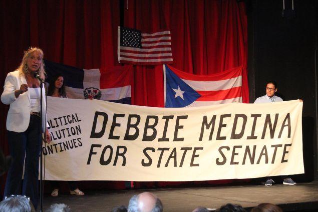 Debbie Medina at a rally.