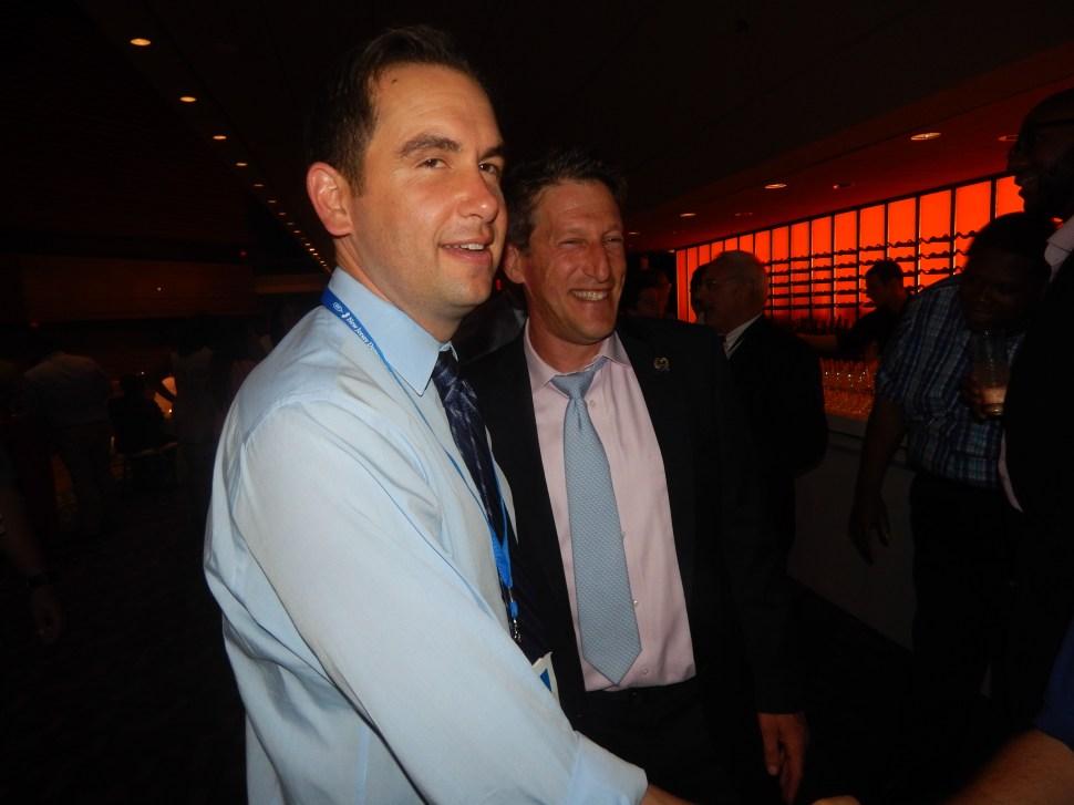 Jersey City Mayor Steven Fulop at Senator Bob Menendez's DNC party in Philly last week with Assemblyman Andrew Zwicker (D-16).