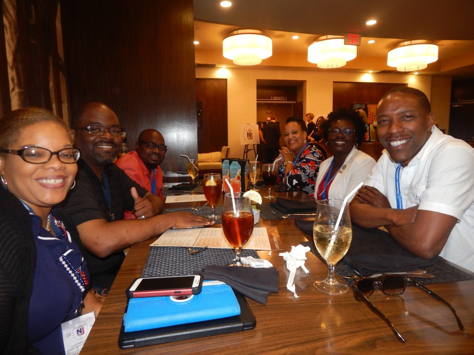 Assemblyman Jamel Holley (D-20), right, foreground, leads the Roselle delegation at the Democratic National Convention in Philadelphia.