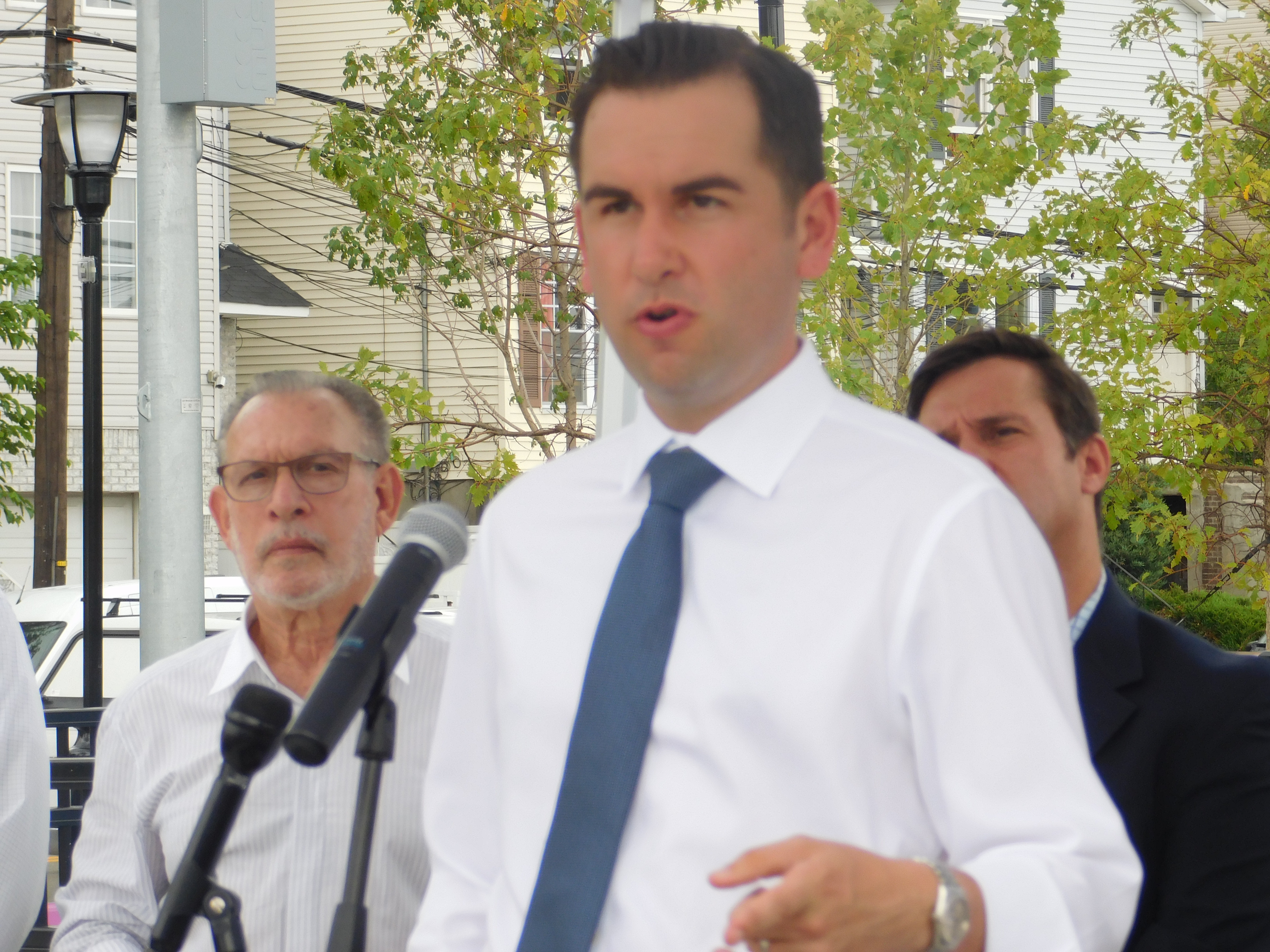 Fulop held a press conference on open space in Jersey City's new Berry Lane Park.