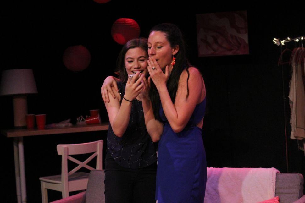 "Elizabeth Gambal plays ""Fran,"" just as she and and Natalie Margolin (as ""Jenny"") read a text from the boy Fran met the night before."