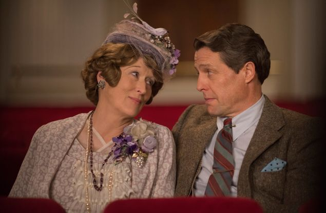 Meryl Streep as Florence Foster Jenkins and Hugh Grant as St Clair Bayfield.