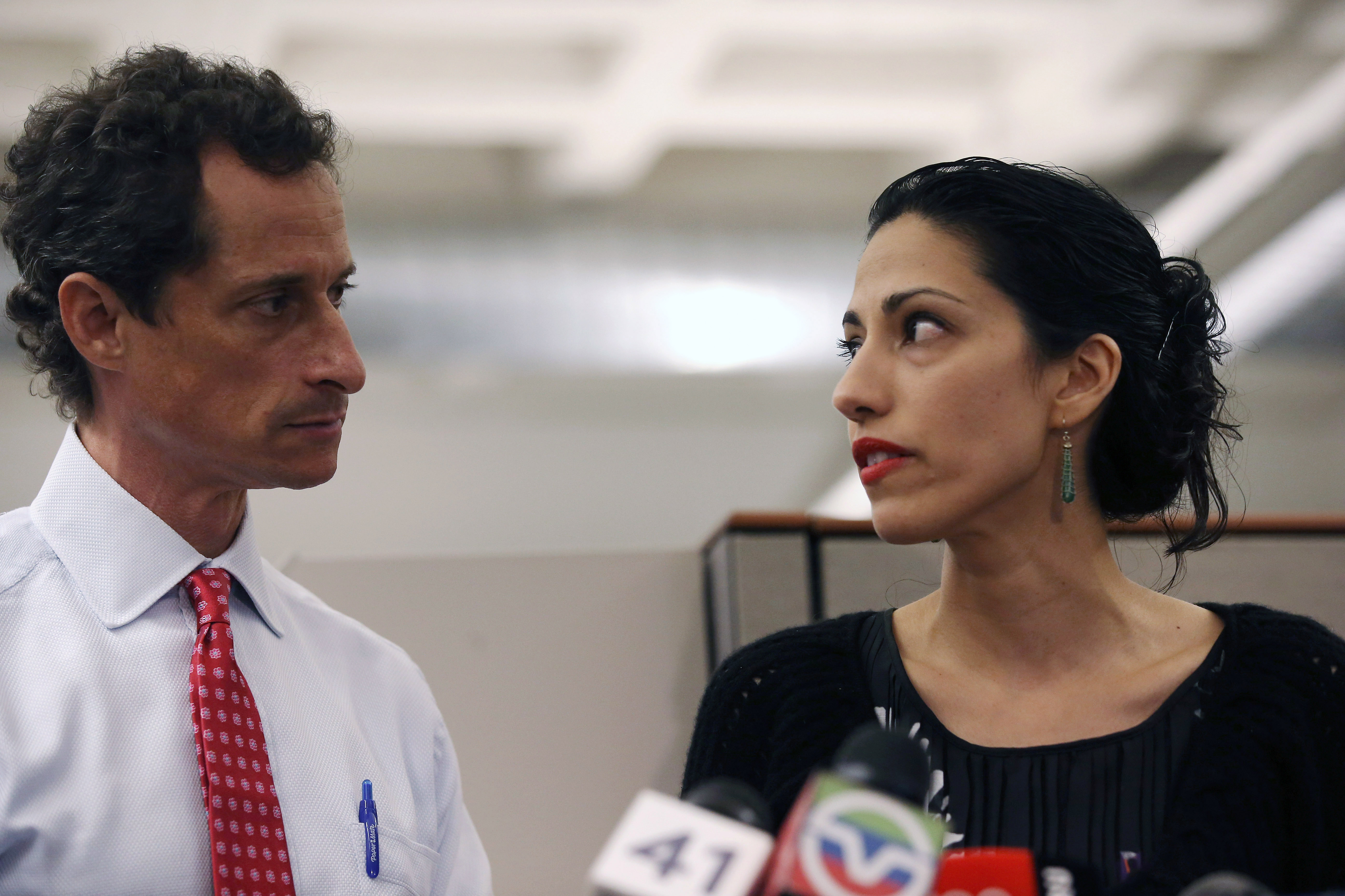 Anthony Weiner and his soon-to-be ex-wife, Huma Abedin, a top Hillary Clinton aide.