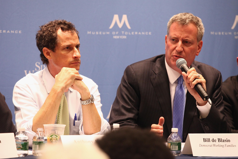 Anthony Weiner and Bill de Blasio at a 2013 debate.
