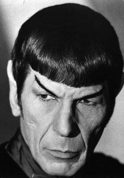 US actor, producer and director Leonard Nimoy as Mr Spock from the TV series 'Star Trek'.