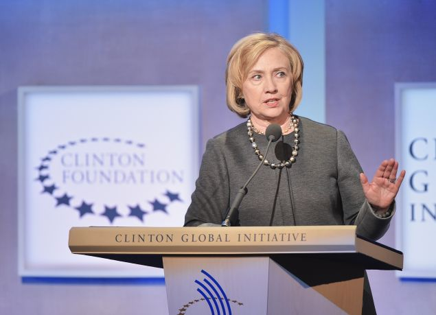 Former US Secretary of State Hillary Clinton addresses the audience during the Opening Plenary Session: Reimagining Impact for the Clinton Global Initiative on September 22, 2014