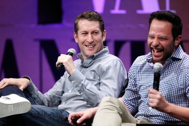 """SAN FRANCISCO, CA - OCTOBER 09: Filmmaker Scott Aukerman and actor Nick Kroll speak onstage during """"How to Earn Thousands Making Comedy"""" at the Vanity Fair New Establishment Summit at Yerba Buena Center for the Arts on October 9, 2014 in San Francisco, California."""