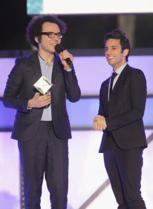 Ian Axel and Chad Vaccarino of A Great Big World accept an award onstage at Logo TV's 2014 NewNowNext Awards at the Kimpton Surfcomber Hotel oin Miami.