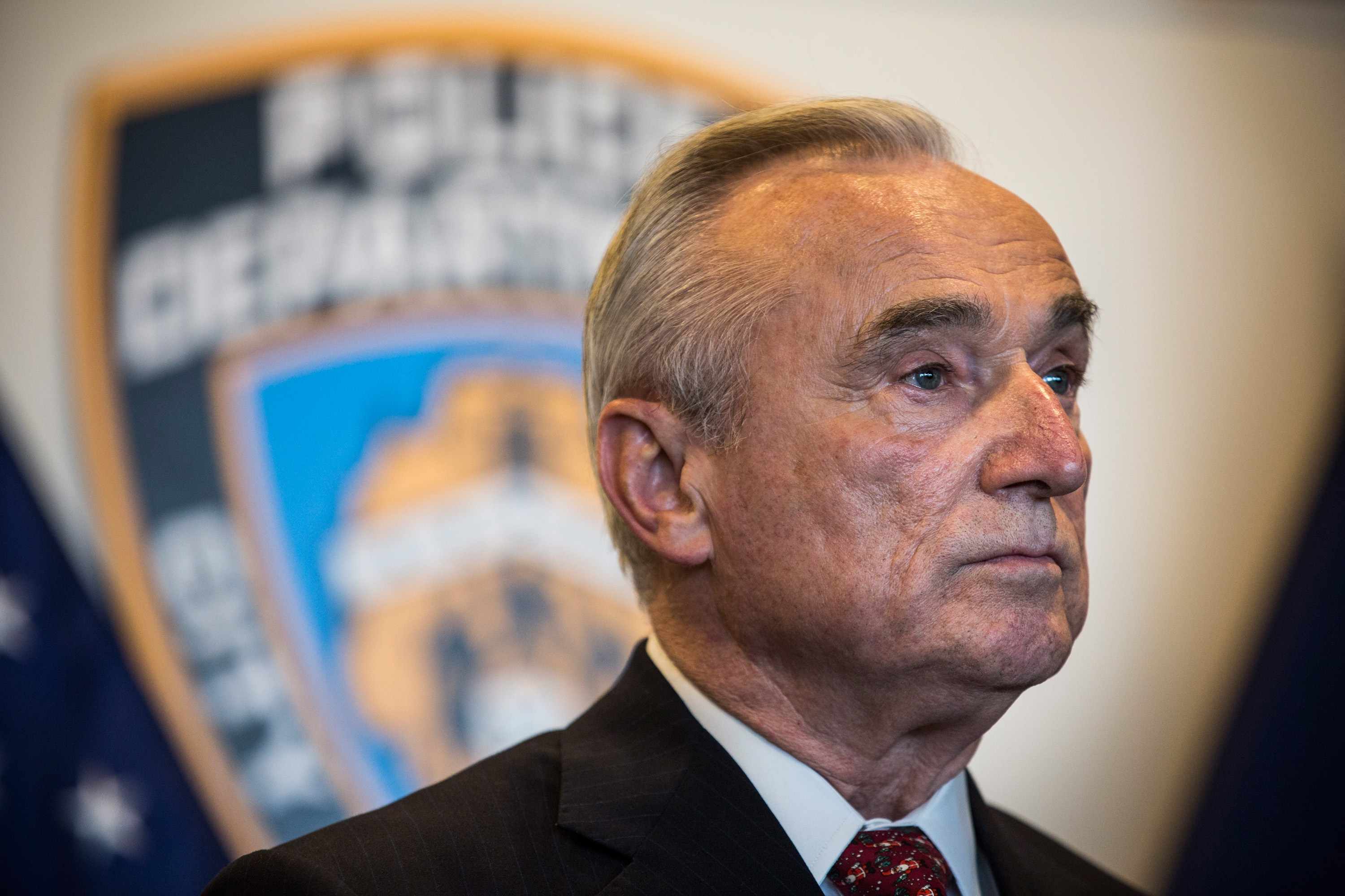 New York Police Department (NYPD) Commissioner Bill Bratton attends a press conference after witnessing police being retrained with new guidelines at the Police Academy on December 4, 2014 in the College Point neighborhood of the Queens borough of in New York City.