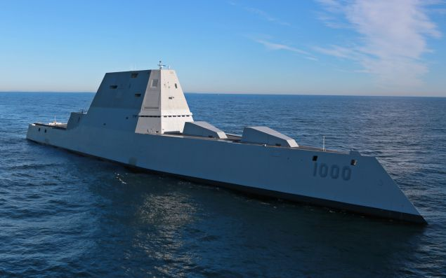 The future USS Zumwalt (DDG 1000) is underway for the first time conducting at-sea tests and trials on the Kennebeck River December 7, 2016 in the Atlantic Ocean.
