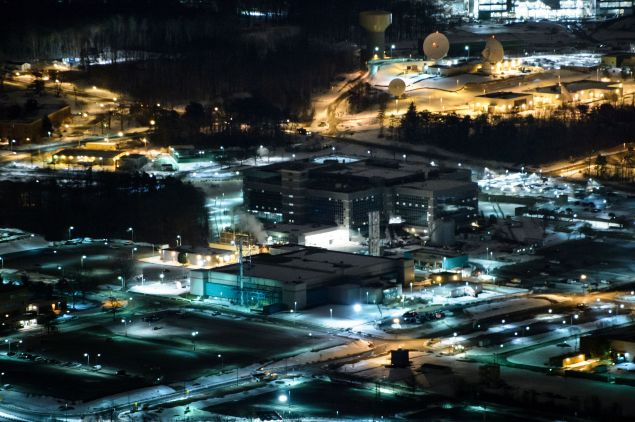 A helicopter view of the National Security Agency January 28, 2016 in Fort Meade, Maryland.