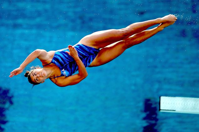 Kassidy Cook of the United States competes in the semifinal of the women's 3m Springboard during the FINA Diving World Cup - Aquece Rio Test Event for the Rio 2016 Olympics.