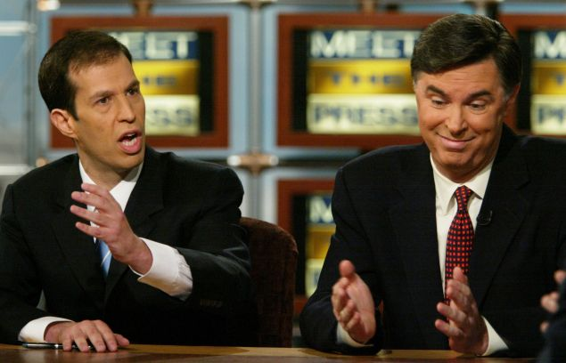 "WASHINGTON - AUGUST 22: Tad Devine (R), senior advisor of the Kerry-Edwards campaign, reacts as he debates Ken Mehlman (L), campaign manager of the Bush-Cheney campaign, on NBC's ""Meet the Press"" during a taping at the NBC Studios August 22, 2004 in Washington, DC. Devine and Mehlman talked about the swiftboat advertisement controversy that has accused Democratic presidential candidate Senate John Kerry (D-MA) of lying about his war record."