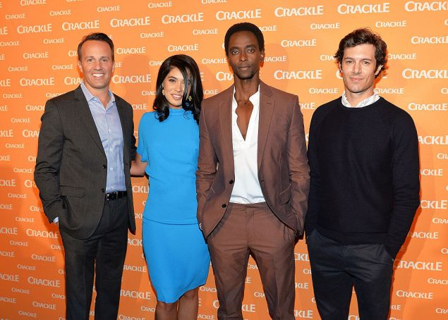 NEW YORK, NY - APRIL 20: (L-R) Sony Pictures Television executive vice president of Digital Networks and Crackle general manager Eric Berger, actors Otmara Marrero, Edi Gathegi and Adam Brody attend Crackle's 2016 Upfront Presentation at New York City Center on April 20, 2016 in New York City.