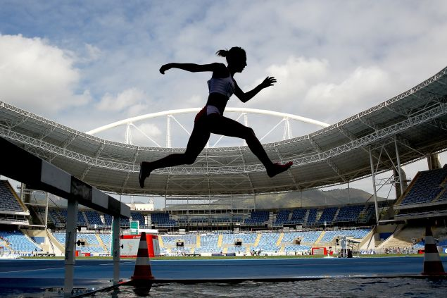 Zulema Arenas #548 of Peru competes in the women's 3000 meter steeplechase during the Ibero American Athletics Championships - Aquece Rio Test Event for the Rio 2016 Olympics.