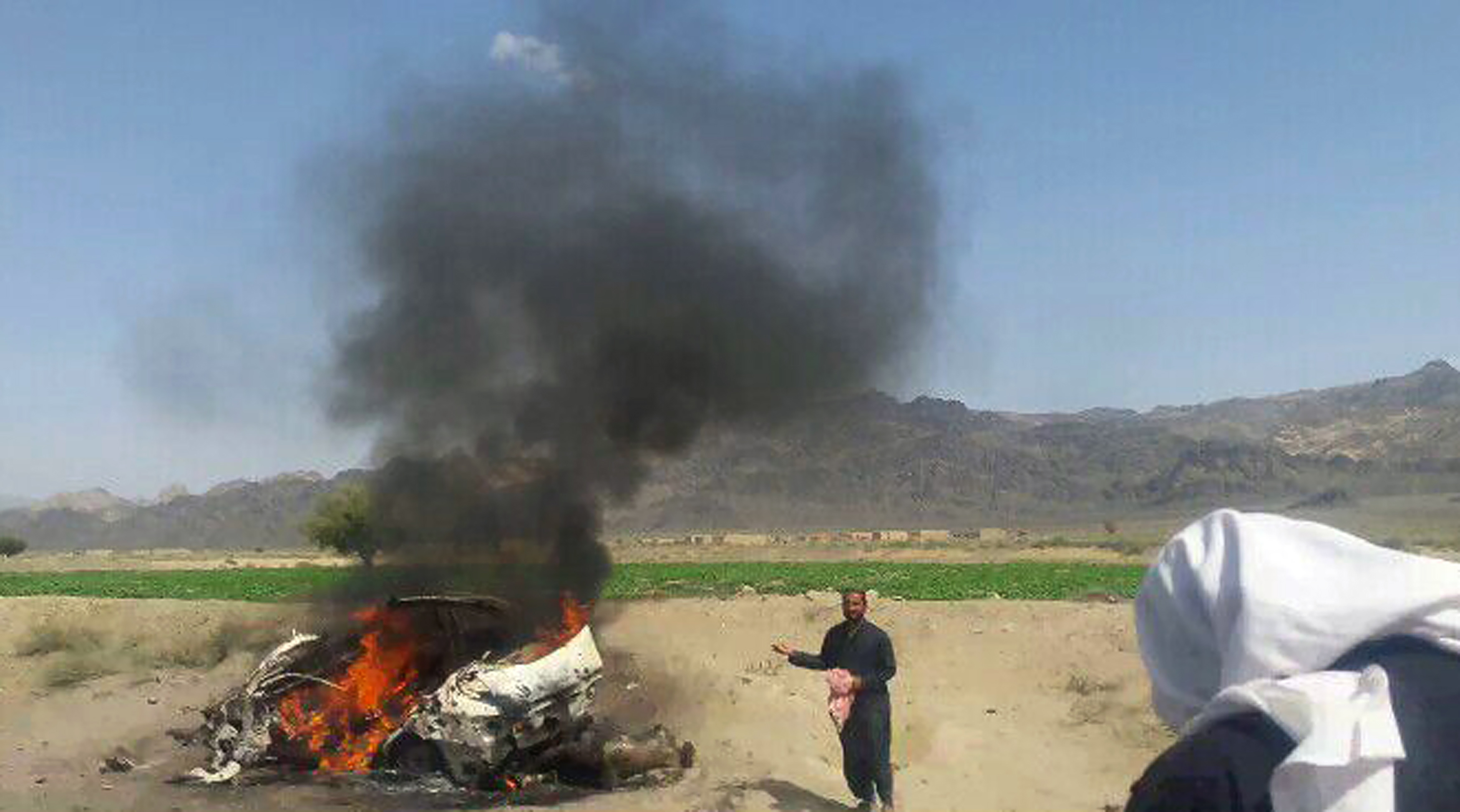 The site of a drone strike believed to have killed Afghan Taliban leader Mullah Akhtar in southwest Pakistan.